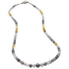 73.65 Carat Fancy Diamond Bead Necklace 18 Inch