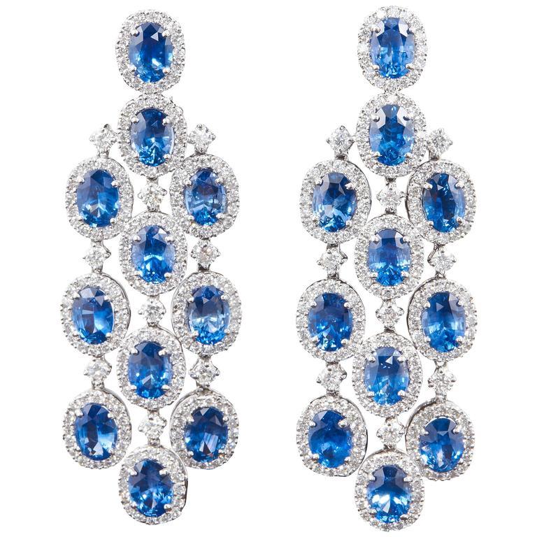 Classic Sapphire Diamond Chandelier Earrings