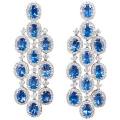 Classic Sapphire Diamond Chandelier Earrings