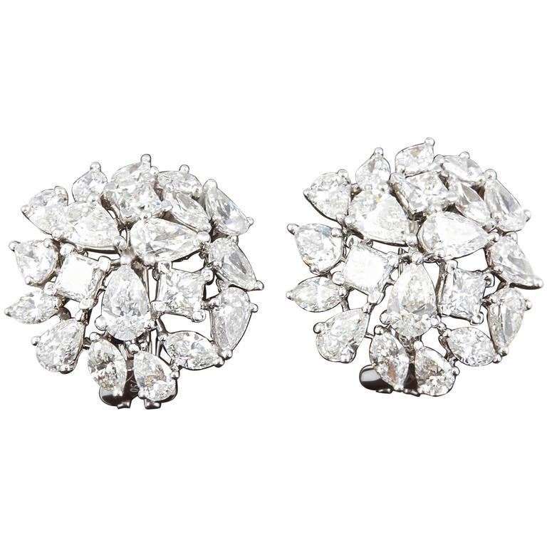 Multi Shape Diamond Cluster Button Earrings