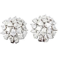 Multi Shape Diamond Cluster Button Earrings