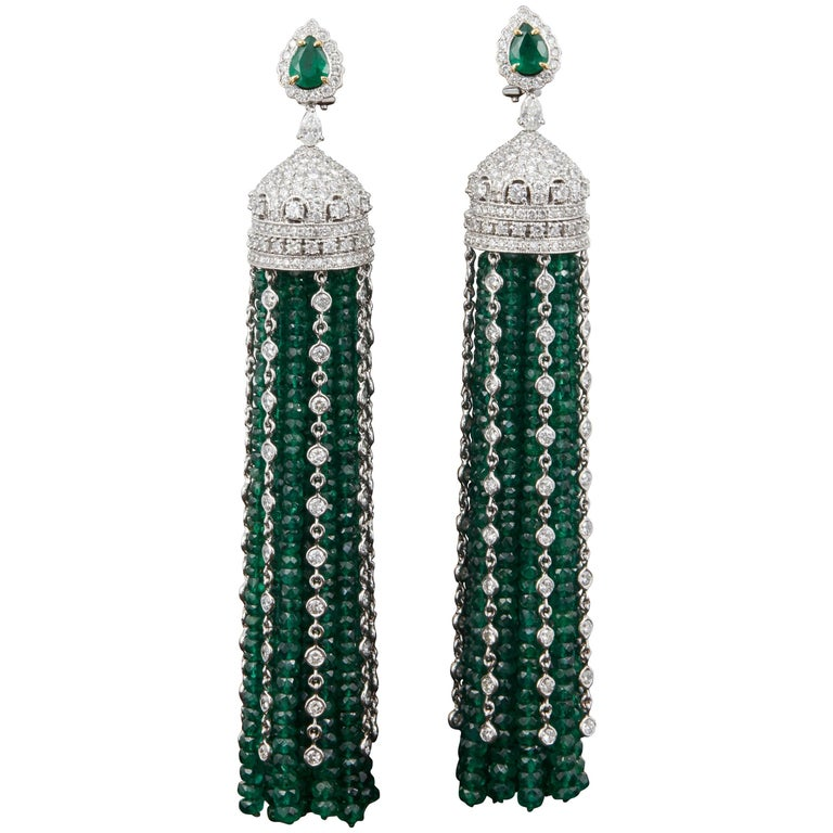 Important Green Emerald and Diamond Tassel Earrings