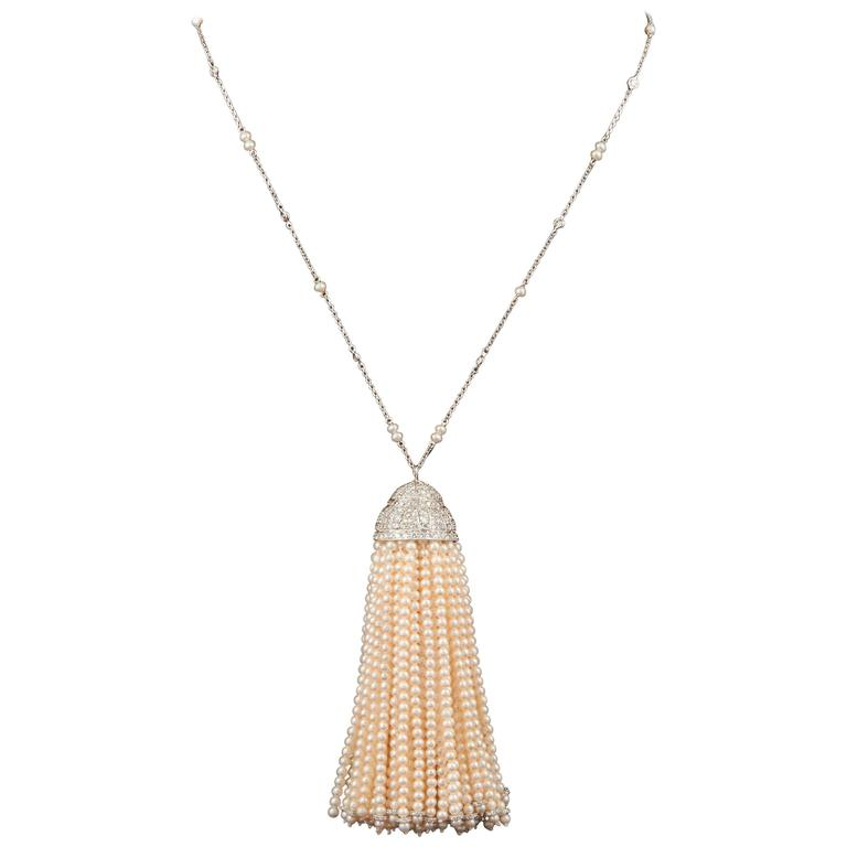 Important Pearl and Diamond Tassel Necklace For Sale
