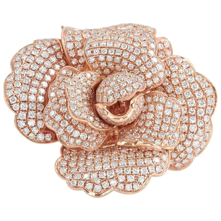 Diamond Pavé Rose Gold Rose Ring Pendant