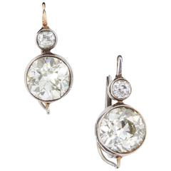 Art Deco Two-Stone Diamond Gold Platinum Earrings