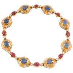 Bulgari Sapphire Ruby Diamond Gold Necklace