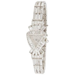 Lucien Piccard Ladies Art Deco Platinum Diamond Wristwatch