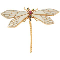 Gem Set Gold Firefly Pin