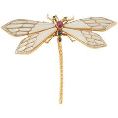 Gem Set Gold Firefly Pin
