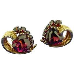 Ruser Rubelite Garnet Gold Heart Earrings