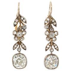 Antique Cushion Cut Diamond Silver Gold Earrings