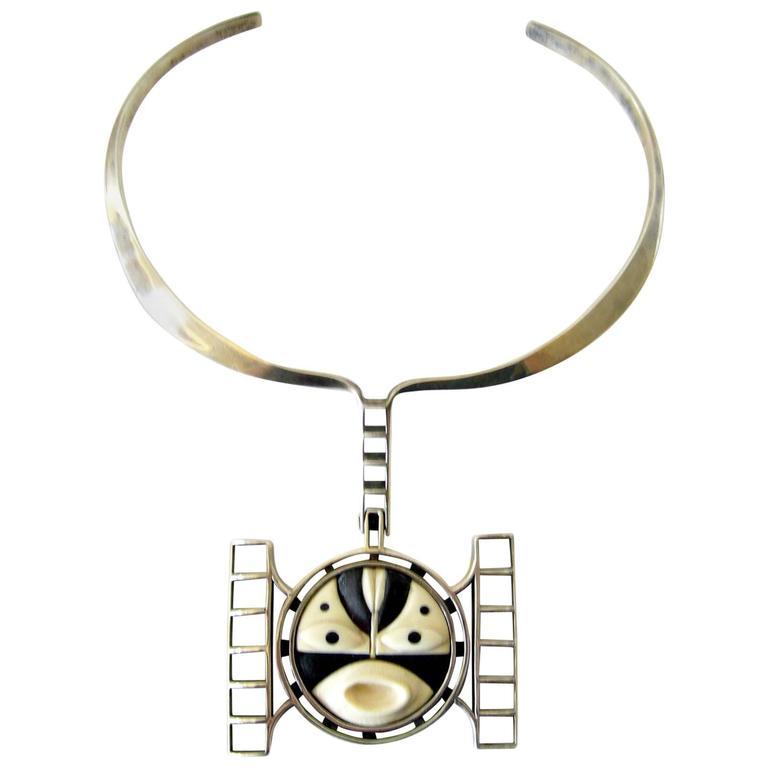 M. Sutton Sterling Silver Wood Modernist Mask Necklace