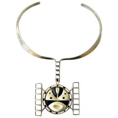 M. Sutton Sterling Silver Wood Modernist Mask Necklace