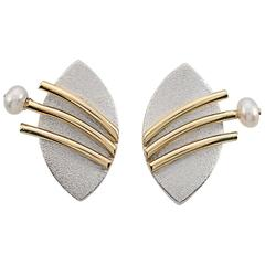 Janis Kerman Pearl Silver Gold Post Earrings