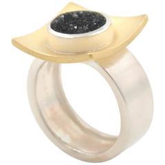 Janis Kerman Sterling Silver Gold Drusy Ring