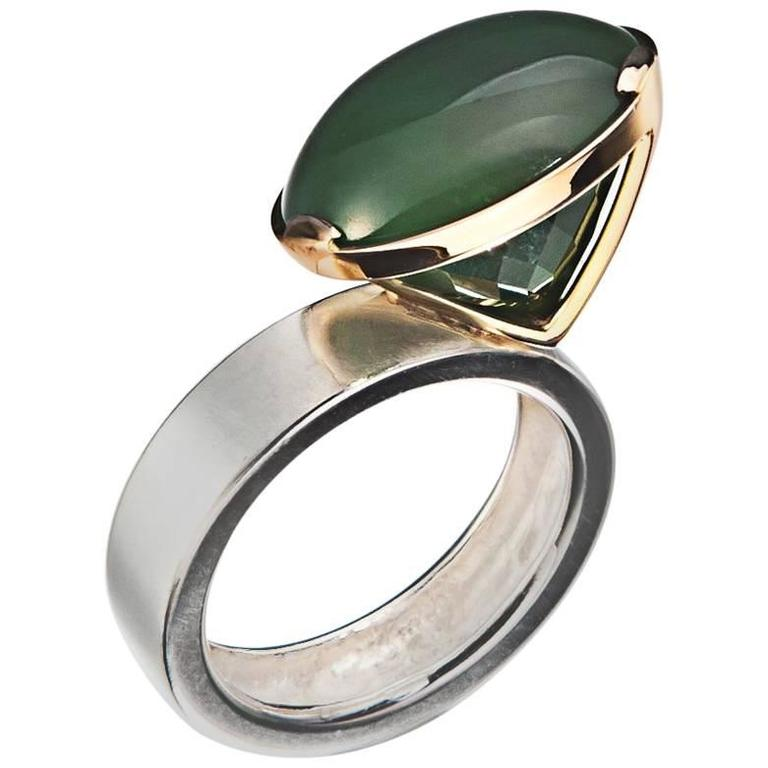 janis polar jade sterling silver gold ring for sale at 1stdibs