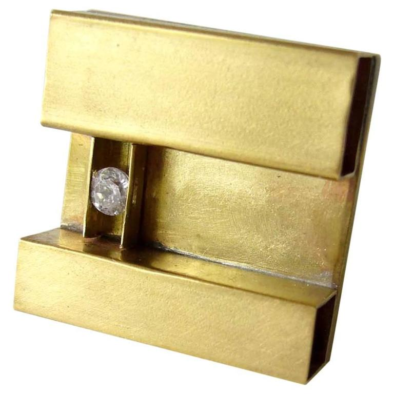 Heidi Abrahamson Cubic Zirconia Sterling Silver Brass Minimalist Ring