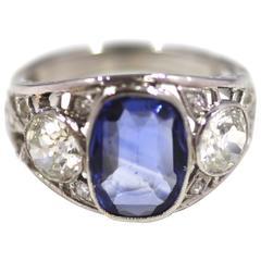 Cushion Cut Sapphire and Diamond Three-Stone Cluster Ring