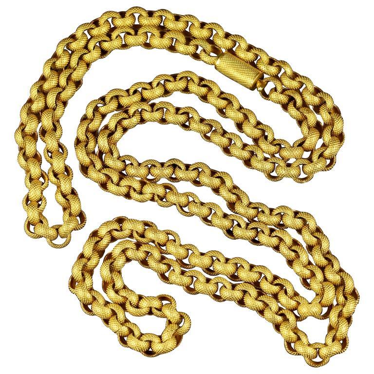 Antique Georgian Long Chain Original Chain and Clasp, circa 1780