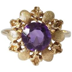 Amethyst Gold Solitaire Flower Ring