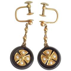 Victorian Onyx Seed Pearl Gold Maltese Cross Mourning Earrings