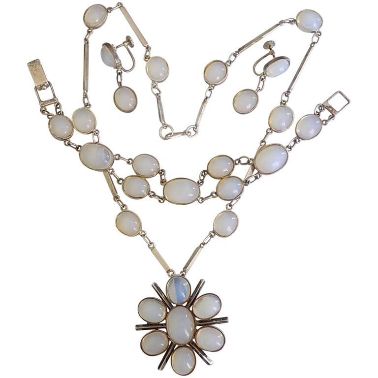 Moonstone Paste Opaline Glass Sterling Silver Necklace Set