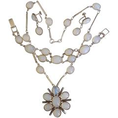 Moonstone Paste Opaline Glass Sterling Silver Necklace Set