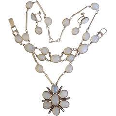 Art Deco Moonstone Paste Opaline Glass Sterling Silver Necklace Set