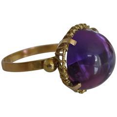 Modernist Purple Crystal Gold Ring
