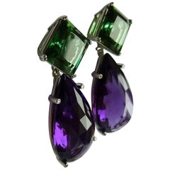 Platinum Amethyst Tourmaline Diamond Earrings Wagner Collection
