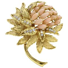 Coral Diamond Gold Brooch