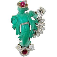 1950s Seaman Schepps Carved Turquoise Burma Ruby Diamond Platinum Geisha Brooch