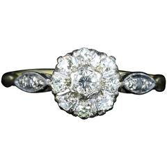 AntiqueEdwardian Diamond Cluster Ring circa 1900 Platinum Engagement Ring