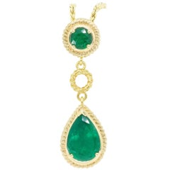 Emerald and Gold Drop Necklace