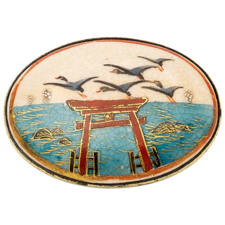Japanese Torii and Crane Pin in Enamel circa 1940s with Blues Reds and Golds