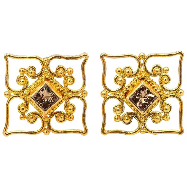 Princess Cut Champagne Diamond and Yellow Gold Filigree Stud Earrings For Sale