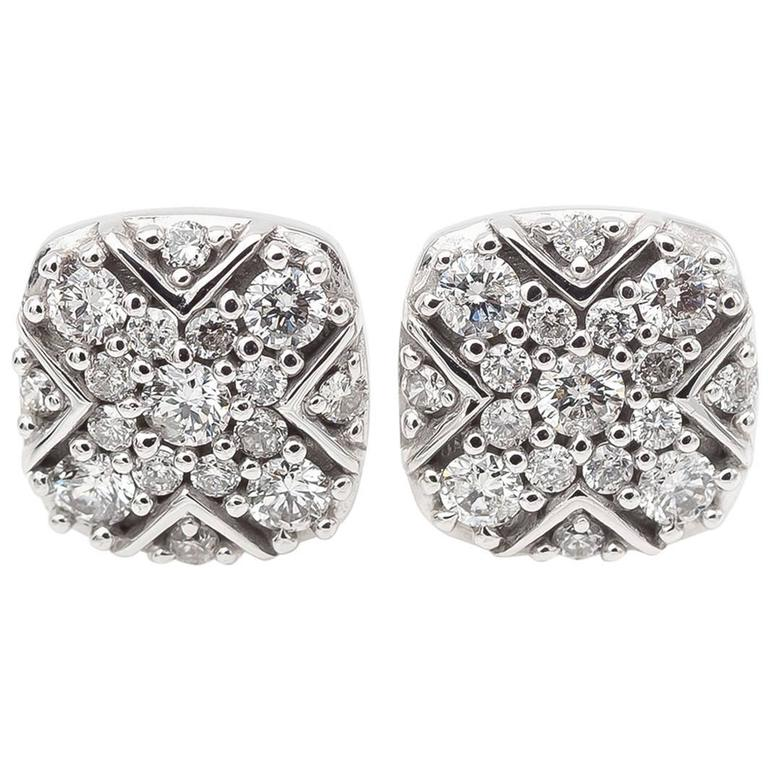 Square Diamond Stud Earrings with Round Diamonds in White Gold