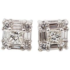0.54 Carat Diamond Baguette Stud Earrings