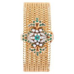 Piaget Yellow Gold Diamond Emerald  Champagne Dial Custom Wristwatch