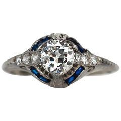 1930s Art Deco GIA Certified .65 Carat Diamond White Gold Engagement Ring