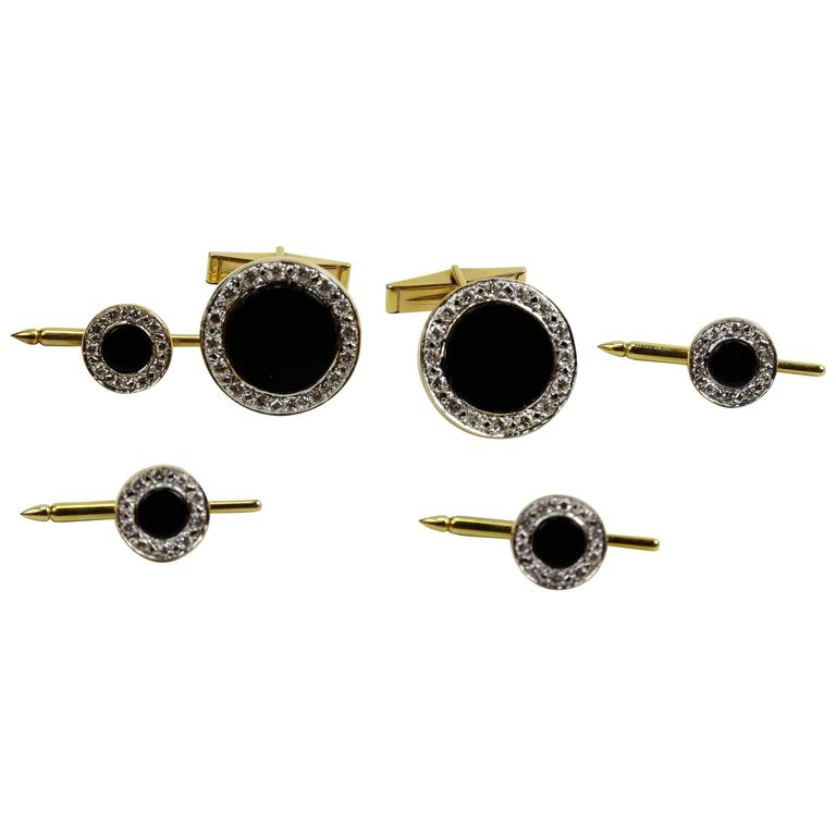 Art Deco Onyx Diamond Gold Button Cufflink and Matching Shirt Stud Dress Set