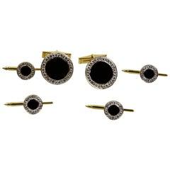 Art Deco Onyx Diamond Gold Button Cufflink and Matching Shirt Stud Dress Set