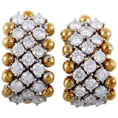 Kutchinsky  Diamond Yellow and White Gold Pave Huggie Earrings