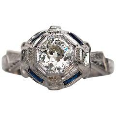 1930s Art Deco GIA Certified .60 Carat Diamond White Gold Engagement Ring
