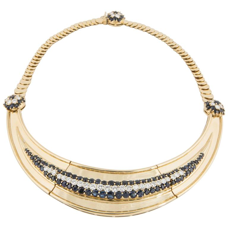 18 Karat Sapphire and Diamond Necklace