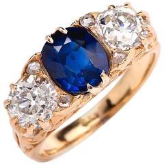 Classic English Sapphire Diamond Three-Stone Gold Engagement Ring