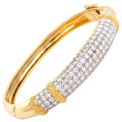 1980s Diamond Yellow Gold Bangle Bracelet