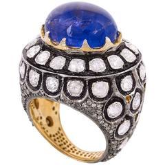 Royal Looking Tanzanite Diamond Ring