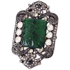 Carved Emerald Diamond Rhodium Silver Ring
