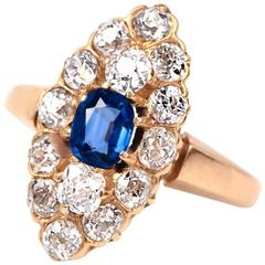 Antique Victorian Sapphire Diamond Rose Gold Cluster Ring